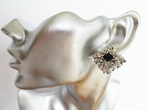 STUNNING-Vintage-Inspired-CLUSTER-Square-Stud-CLIP-ON-Earrings-with-Diamante