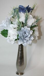 Artificial silk flowers blue grey white flower arrangement in a image is loading artificial silk flowers blue grey white flower arrangement mightylinksfo Images