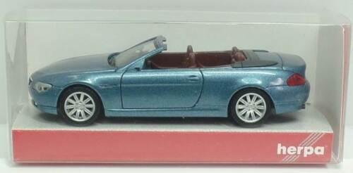 HERPA Nr.033244 BMW 6er Cabriolet E64 OVP wasserblaumetallic//IE braunrot