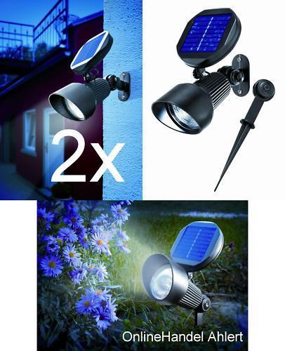 2x Foco Solar LED Lámpara Parojo Batería de Jardín Aluminio
