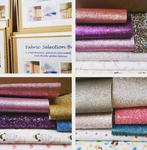 Hair bow and crafting glitter and printed canvas Fabric Selection Box