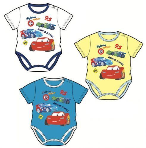 Disney Cars Baby Body Mcqueen Auto Baumwolle Bodydress Weiß//Gelb//Blau