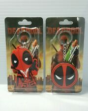 USA 2pcs Set Deadpool Movie Comic Book Toy Rubber Keychain ZIPPER Pull Pair Lot