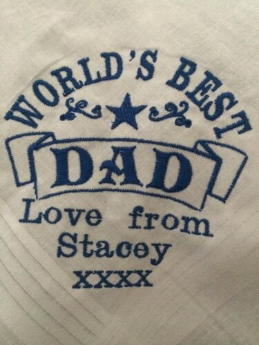 Personalised Embroidered DAD FATHER hankie Christmas Xmas birthday present gift