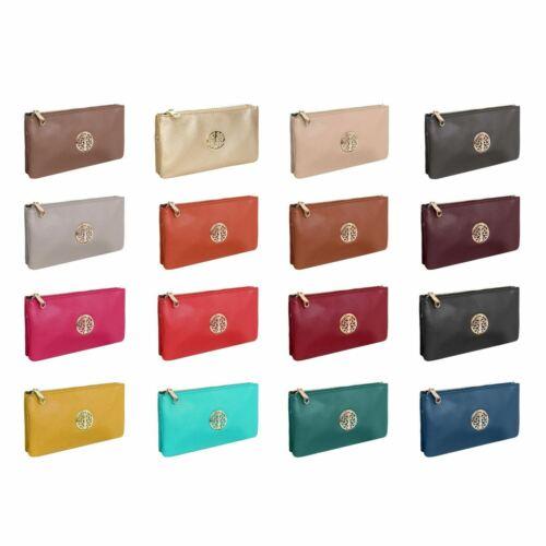 Womens Multipurpose Faux Leather Small Clutch Wristlet Cross Body Shoulder Bag
