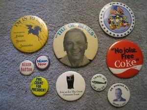 vintage-political-pinback-lot-NIXON-Phil-Crane-Frank-Sinatra-COKE-Disney-BUTTONS