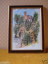 AQUARELLE.Plume encre aquarelle Chateau SARLAT. Tableau signé COQUELLE. Painting