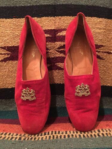 RALPH LAUREN Collection Red Suede Tuxedo Flat Clas
