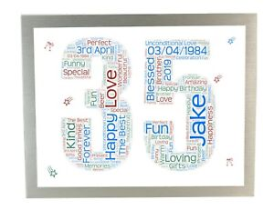 1st 25th 30th 40th 50th 60th Any Wedding Anniversary Personalised Gift Word Art