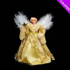 Gold Glitter Angel Fairy Christmas Xmas Tree Topper Festive Feather Decoration
