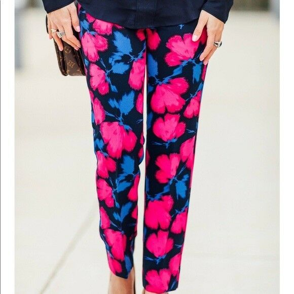 98 NWT Banana Republic Women's Avery Ankle Floral Pants Size 2 NWT