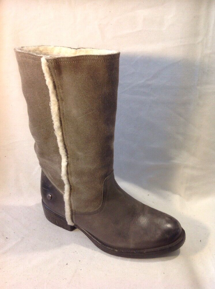 Blink Khaki Mid Calf Leather Boots Size 38