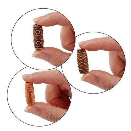10 stücke Holz Haar Geflecht Dreadlock Perlen Rohr Ring Haarverlängerung CliPDH