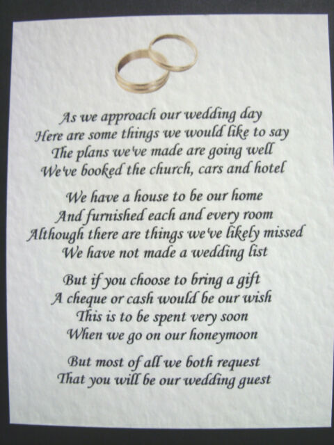 20 Wedding Poems Asking For Money Gifts Not Presents Ref No 6 Ebay