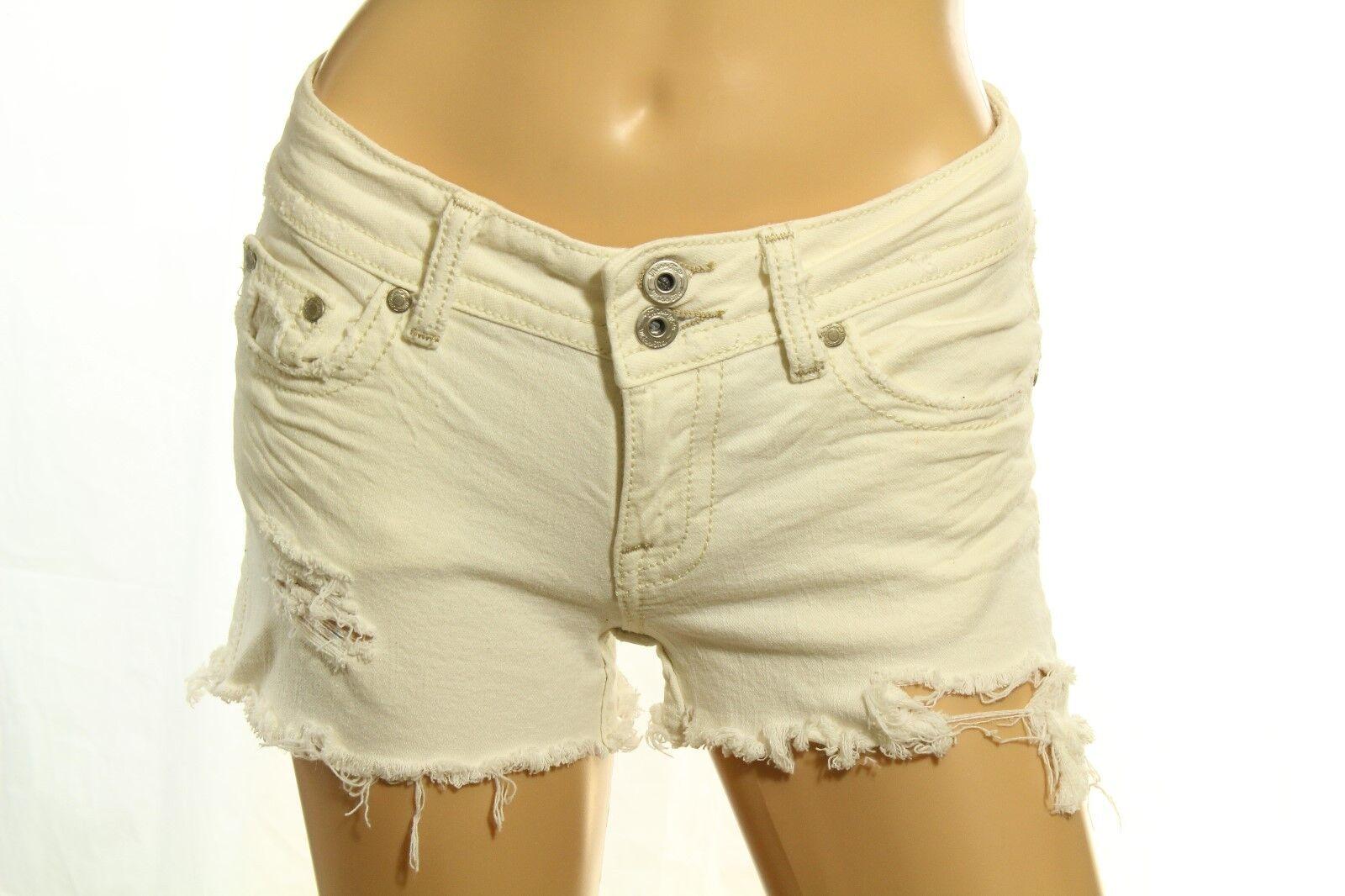 Miss Me Women's Denim Shorts Ivory Distressed Cut Off