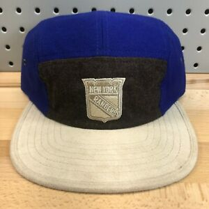 New-York-Rangers-NHL-Hockey-Mitchell-amp-Ness-Buckle-Back-Suede-Cap-EUC-Hat-RARE