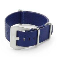 Dassari Concrete Textured Italian Leather Watch Mens Strap In Blue W/ Pre V