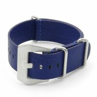 Dassari Concrete Textured Italian Leather Watch Mens Strap In Blue W/ Pre V