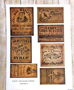 Primitive Medicine Labels, Vintage Apothecary Uncut Sticker Sheet