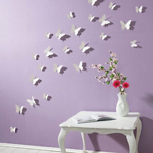 Great Image Is Loading 3D Butterfly Wall Stickers 16pcs White Butterfly  Decorations
