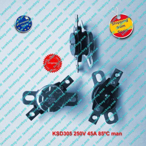 Thermostat KSD305 45A 250V 85ºC to 95ºC  normally closed manual reset
