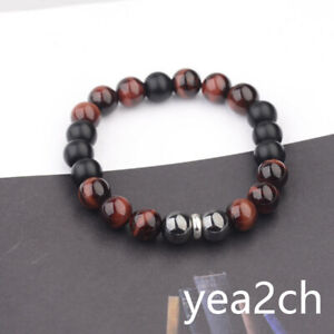8-034-Men-039-s-Bracelet-Stainless-steel-10mm-Tigers-Eye-Hematite-Onyx-Gemstone-Beaded
