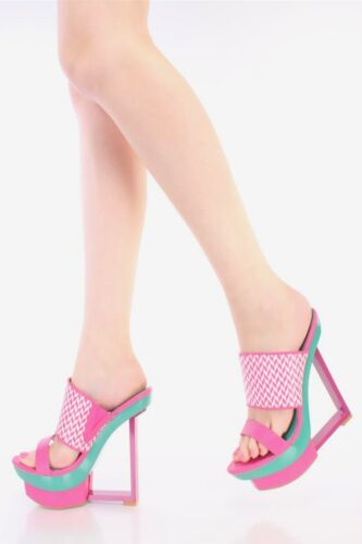 Colorful Open Toe Woven Slip On Cut Out Wedges Platform High Heel Sandals W38