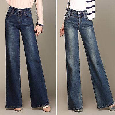 Women Wide Leg Jeans Flare Bootcut Denim Trousers Pants Palazzo High Waist Blue