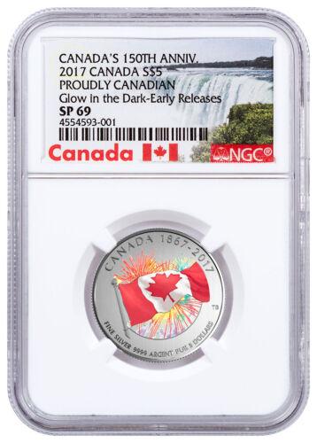 2017 Canada Proudly Glow in the Dark 1//4 oz Silver Specimen NGC SP69 ER SKU47346