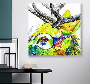 xxl leinwand bild popart 100x100x5 gem lde hirsch bunt canvas ikea loft designe ebay. Black Bedroom Furniture Sets. Home Design Ideas