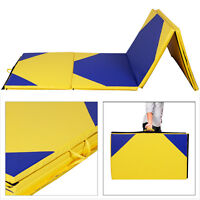 4'x10'x2 Gymnastics Mat Thick Folding Panel Gym Fitness Exercise Yellow/blue on sale