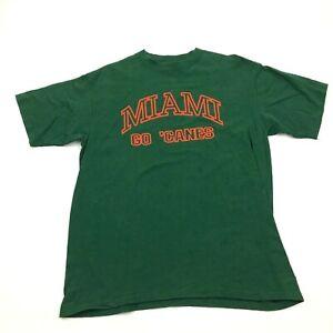 VINTAGE Oneita University Of Miami Hurricanes Shirt Size Large 42 - 44 Green USA