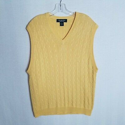 Brooks Brothers Country Club Mens Yellow Cotton Cable Knit Sweater Vest Xl R305 Ebay