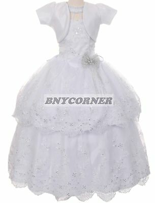Elegant White First Communion Girls Dress Christmas Pageant Bridesmaid Easter