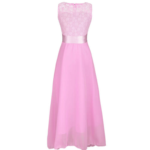 Flower Girl Kid Lace Chiffon Long Dress Party Wedding Bridesmaid Graduation Gown