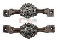 2 Silver Praying Cowboy Concho Drawer Pull Handle Door Cabinet Rustic Cast Iron