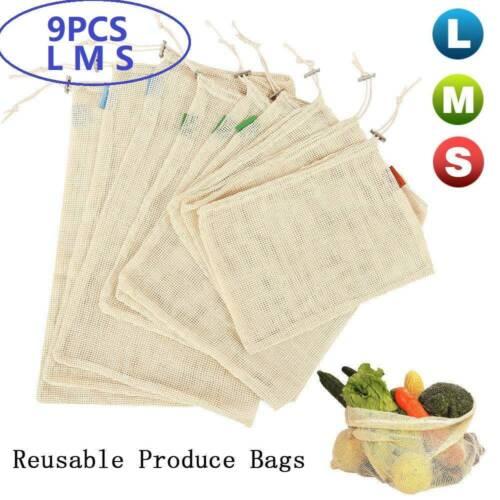 9PC Mesh Packaging Produce Bags Net Shopping Bag Cotton Reusable Fruit Vegetable