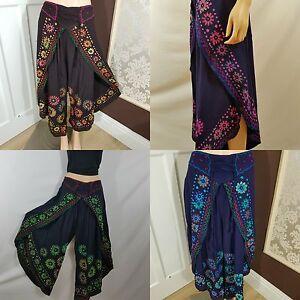 Hippy Flower Pattern Cotton Trousers 8 10 12 14 16 18 20 22 24 26 Boho Yoga
