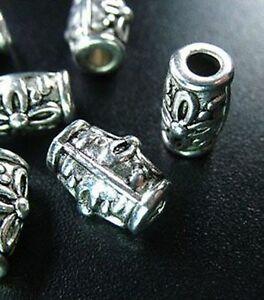 25pcs-Tibetan-Silver-Flower-Barrel-Spacers-Beads-T64