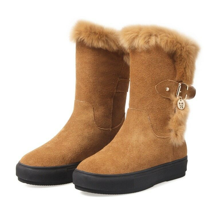 New Women Round Toe Warm Fur Wedge Heels Leather Suede Winter Ankle Boots shoes