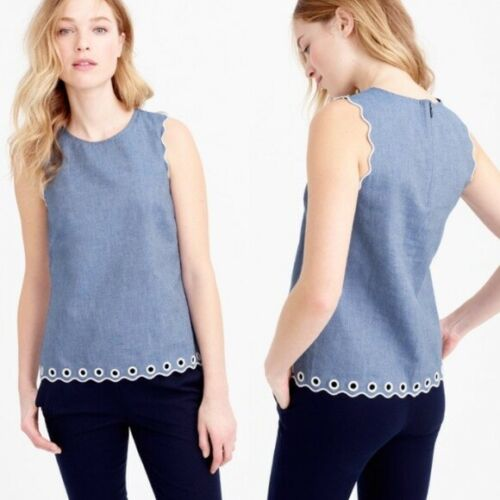 J.Crew Chambray Top Womens 00 Blue Scalloped Gromm