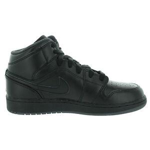 reputable site 60666 c566e Image is loading Nike-Air-Jordan-1-Mid-BG-Black-Black-