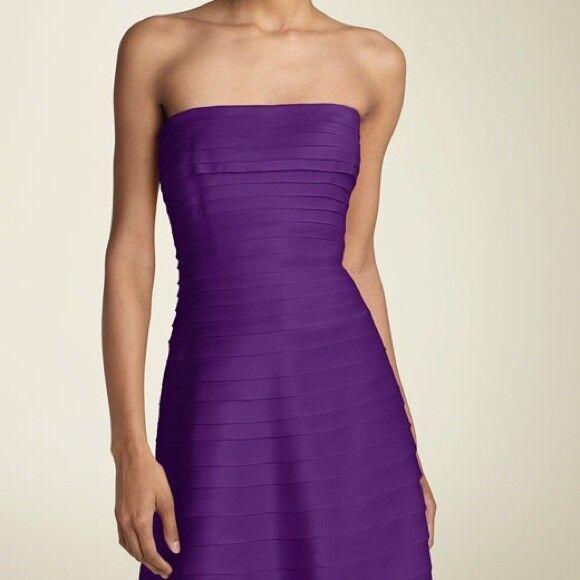 Adrianna Papell Woherren lila Strapless Satin Laser Cut Dress    8 …
