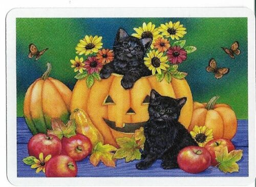 CD-10 swap playing card MINT cond  BLACK CATS HALLOWEEN THEME