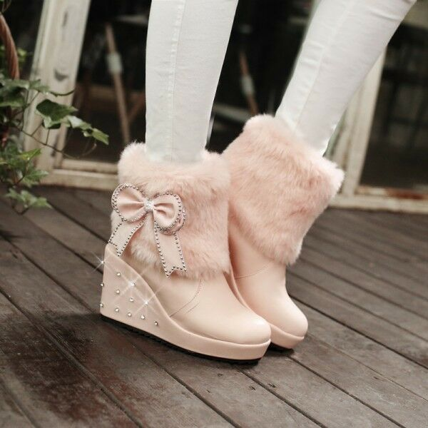 Winter Fashion Womens Fur Furry Rivet High Wedge Platform Pull On Ankle Boot Hot