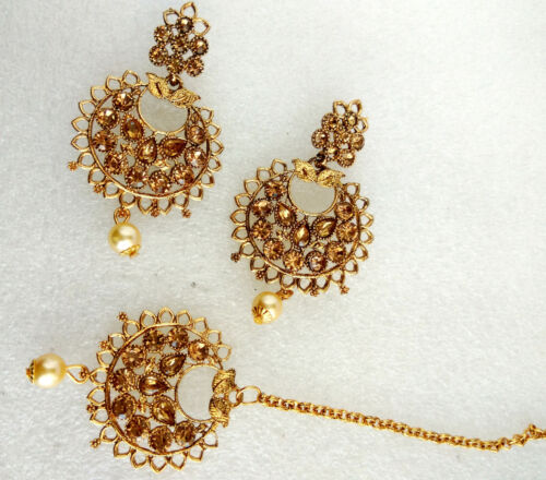 Bridal Maang Tikka Earring Set Bollywood Style Gold Tone femmes indiennes Bijoux 15