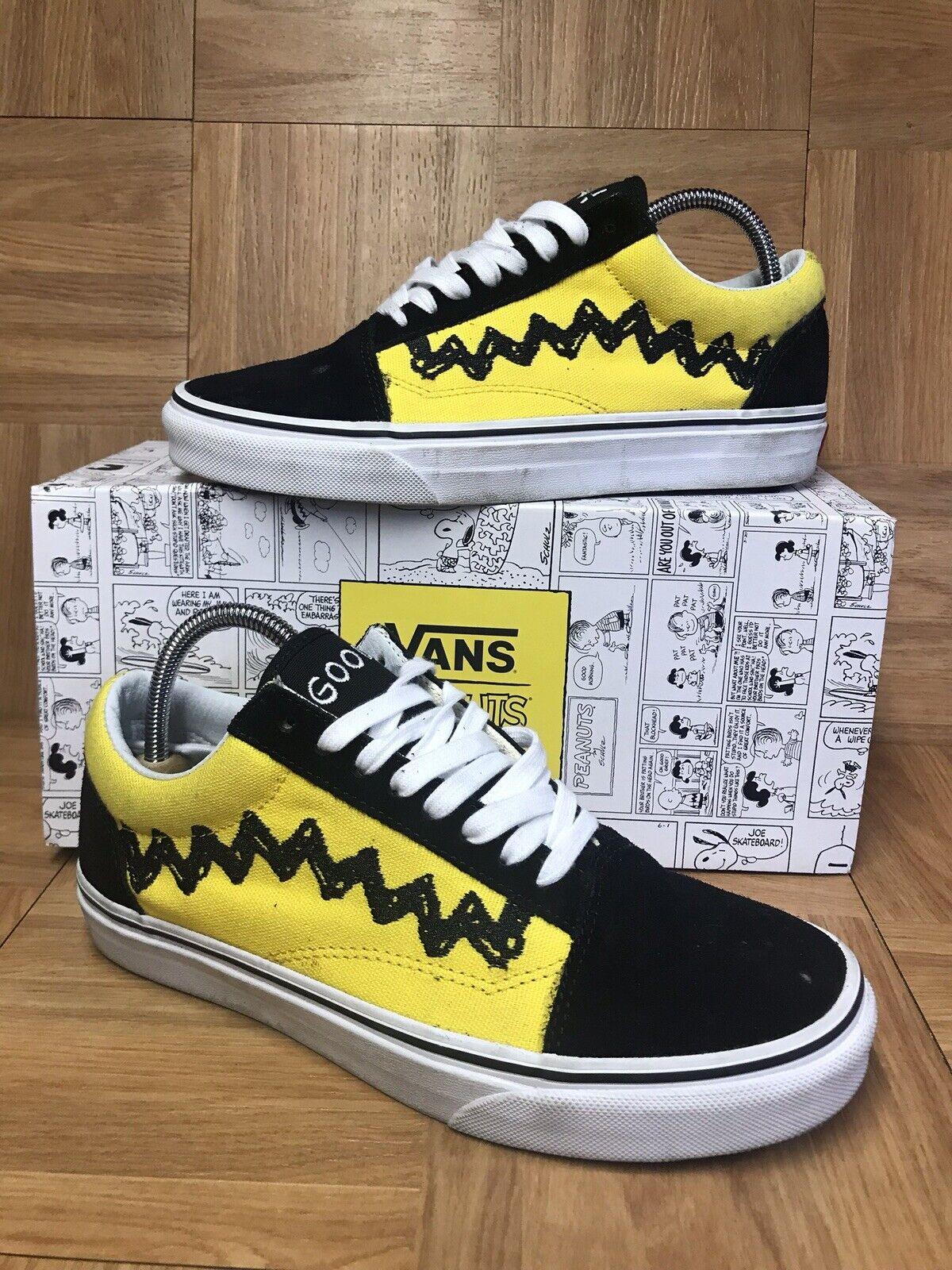 RARE VANS Old Skool Peanuts Charlie Brown Low Top 6.5 Good Grief Yellow Black