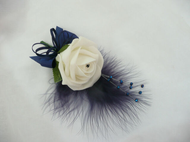 Artificial Ivory  Rose & Navy Blue wedding flower buttonhole corsage - PIN ON