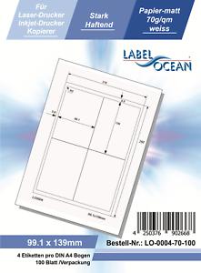100 Blatt Klebeetiketten DIN A4 weiß 99,1x139mm Laser Inkjet Kopierer