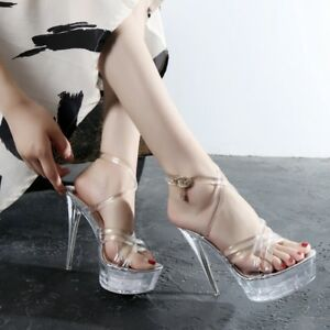 15cm-Super-High-Heels-Women-039-s-Sexy-Clear-Ankle-Strap-Pole-Dance-Nightclub-Shoes